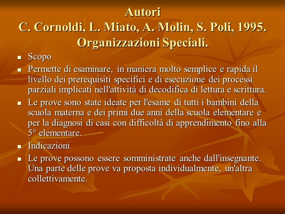 Autori C. Cornoldi, L. Miato, A. Molin, S. Poli, 1995. Organizzazioni Speciali. Scopo Scopo Permette di esaminare, in maniera molto semplice e rapida