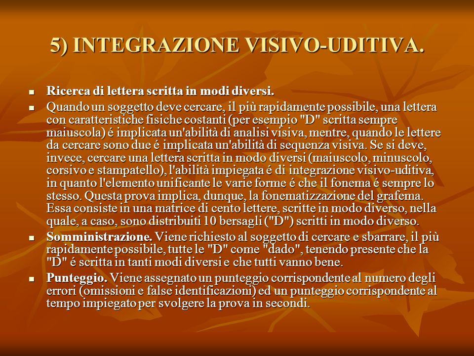 5) INTEGRAZIONE VISIVO-UDITIVA. Ricerca di lettera scritta in modi diversi. Ricerca di lettera scritta in modi diversi. Quando un soggetto deve cercar