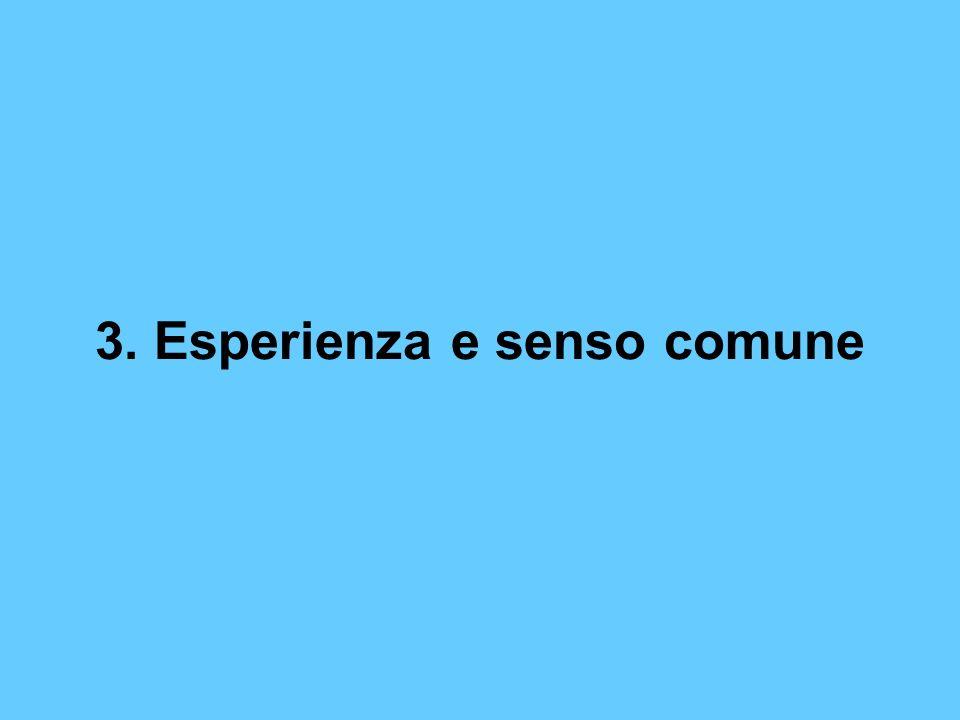 3. Esperienza e senso comune