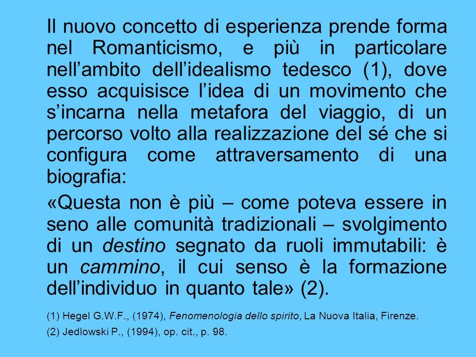 Il nuovo concetto di esperienza prende forma nel Romanticismo, e più in particolare nellambito dellidealismo tedesco (1), dove esso acquisisce lidea di un movimento che sincarna nella metafora del viaggio, di un percorso volto alla realizzazione del sé che si configura come attraversamento di una biografia: «Questa non è più – come poteva essere in seno alle comunità tradizionali – svolgimento di un destino segnato da ruoli immutabili: è un cammino, il cui senso è la formazione dellindividuo in quanto tale» (2).
