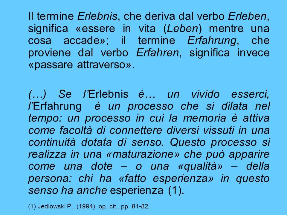 Il termine Erlebnis, che deriva dal verbo Erleben, significa «essere in vita (Leben) mentre una cosa accade»; il termine Erfahrung, che proviene dal verbo Erfahren, significa invece «passare attraverso».