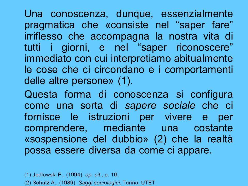 Questo «senso» è «comune» perché la struttura della vita sociale è intersoggettiva.