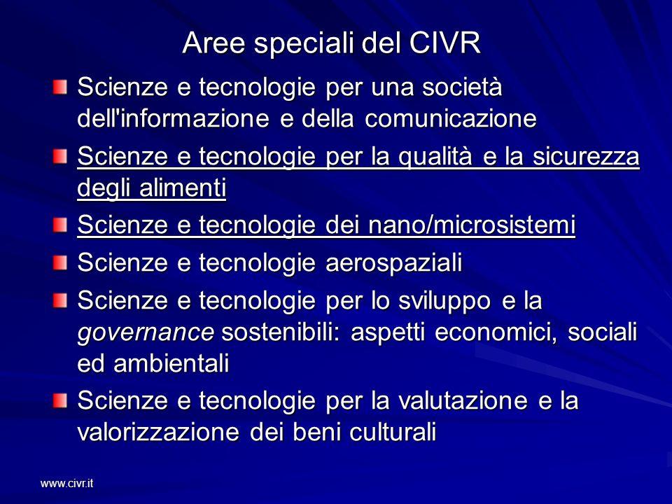 www.civr.it Aree speciali del CIVR Scienze e tecnologie per una società dell'informazione e della comunicazione Scienze e tecnologie per la qualità e