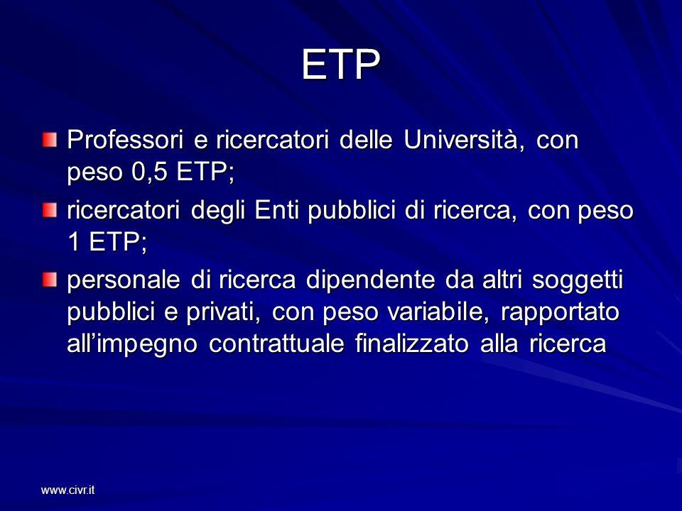 www.civr.it ETP Professori e ricercatori delle Università, con peso 0,5 ETP; ricercatori degli Enti pubblici di ricerca, con peso 1 ETP; personale di