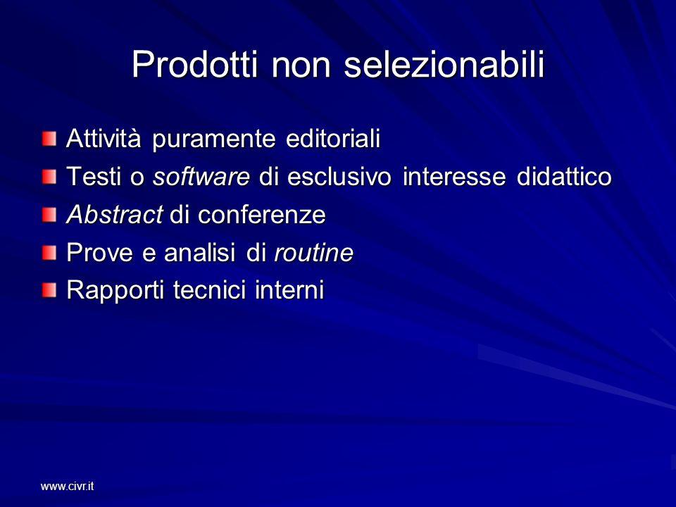 www.civr.it Prodotti non selezionabili Attività puramente editoriali Testi o software di esclusivo interesse didattico Abstract di conferenze Prove e