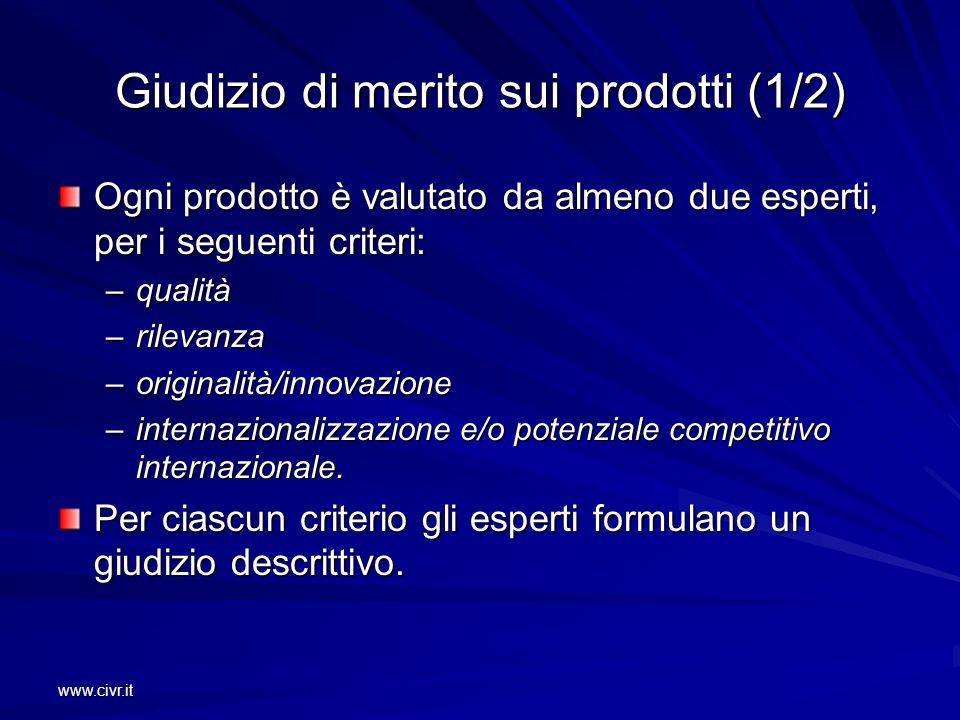 www.civr.it Giudizio di merito sui prodotti (1/2) Ogni prodotto è valutato da almeno due esperti, per i seguenti criteri: –qualità –rilevanza –origina