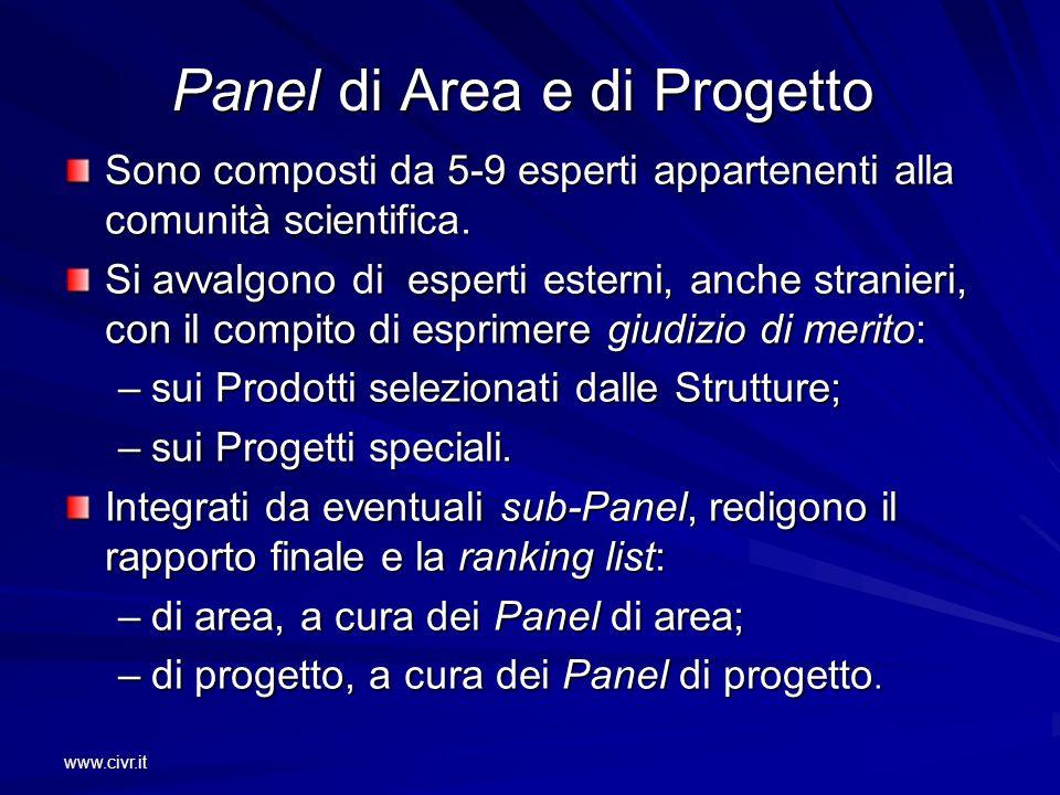 www.civr.it Panel di Area e di Progetto Sono composti da 5-9 esperti appartenenti alla comunità scientifica. Si avvalgono di esperti esterni, anche st