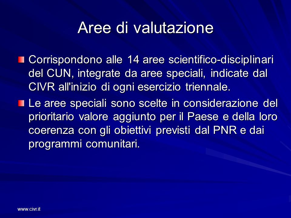 www.civr.it Aree di valutazione Corrispondono alle 14 aree scientifico-disciplinari del CUN, integrate da aree speciali, indicate dal CIVR all'inizio