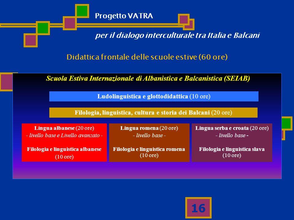 16 Scuola Estiva Internazionale di Albanistica e Balcanistica (SEIAB) Ludolinguistica e glottodidattica (10 ore) Filologia, linguistica, cultura e sto