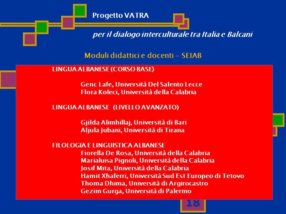 18 Moduli didattici e docenti - SEIAB LINGUA ALBANESE (CORSO BASE) Genc Lafe, Università Del Salento Lecce Flora Koleci, Università della Calabria LIN