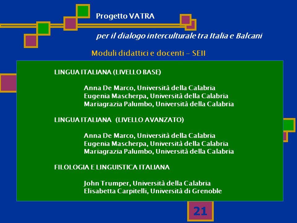 21 Moduli didattici e docenti - SEII LINGUA ITALIANA (LIVELLO BASE) Anna De Marco, Università della Calabria Eugenia Mascherpa, Università della Calab