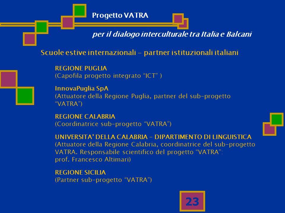 23 Scuole estive internazionali - partner istituzionali italiani REGIONE PUGLIA (Capofila progetto integrato ICT ) InnovaPuglia SpA (Attuatore della R