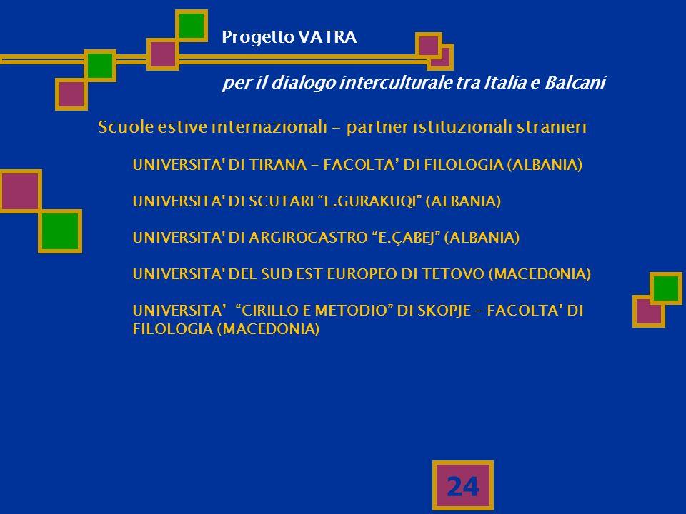 24 Scuole estive internazionali - partner istituzionali stranieri UNIVERSITA' DI TIRANA - FACOLTA DI FILOLOGIA (ALBANIA) UNIVERSITA' DI SCUTARI L.GURA