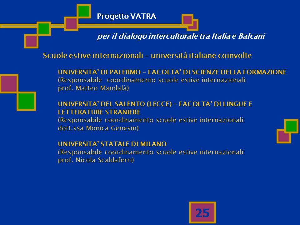 25 Scuole estive internazionali – università italiane coinvolte UNIVERSITA DI PALERMO - FACOLTA DI SCIENZE DELLA FORMAZIONE (Responsabile coordinament