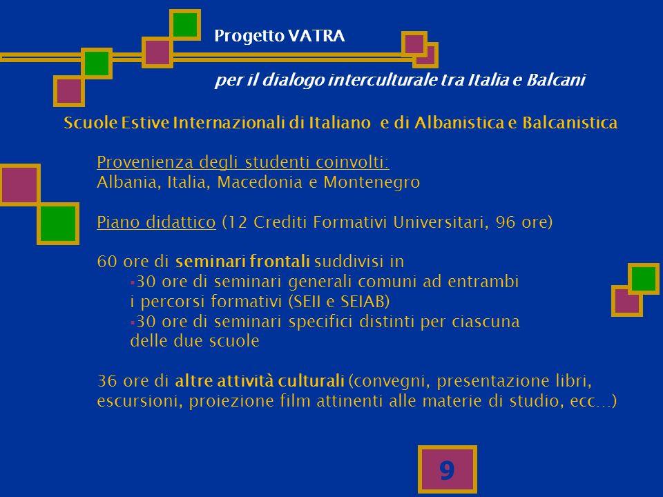 9 Scuole Estive Internazionali di Italiano e di Albanistica e Balcanistica Provenienza degli studenti coinvolti: Albania, Italia, Macedonia e Monteneg