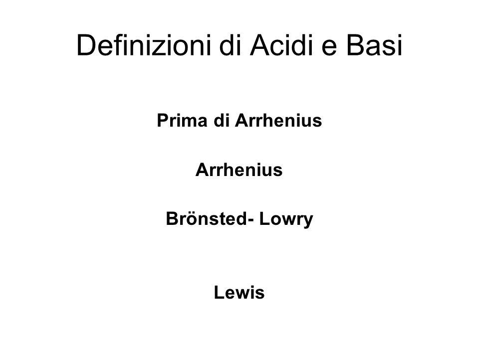 Definizioni di Acidi e Basi Prima di Arrhenius Arrhenius Brönsted- Lowry Lewis