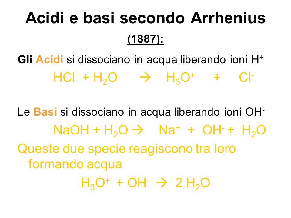 Acidi e basi secondo Arrhenius (1887): Gli Acidi si dissociano in acqua liberando ioni H + HCl + H 2 O H 3 O + + Cl - Le Basi si dissociano in acqua l