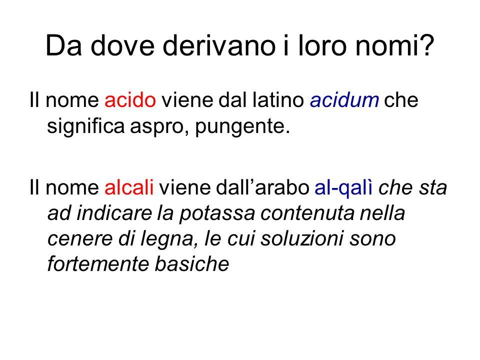 Da dove derivano i loro nomi? Il nome acido viene dal latino acidum che significa aspro, pungente. Il nome alcali viene dallarabo al-qalì che sta ad i