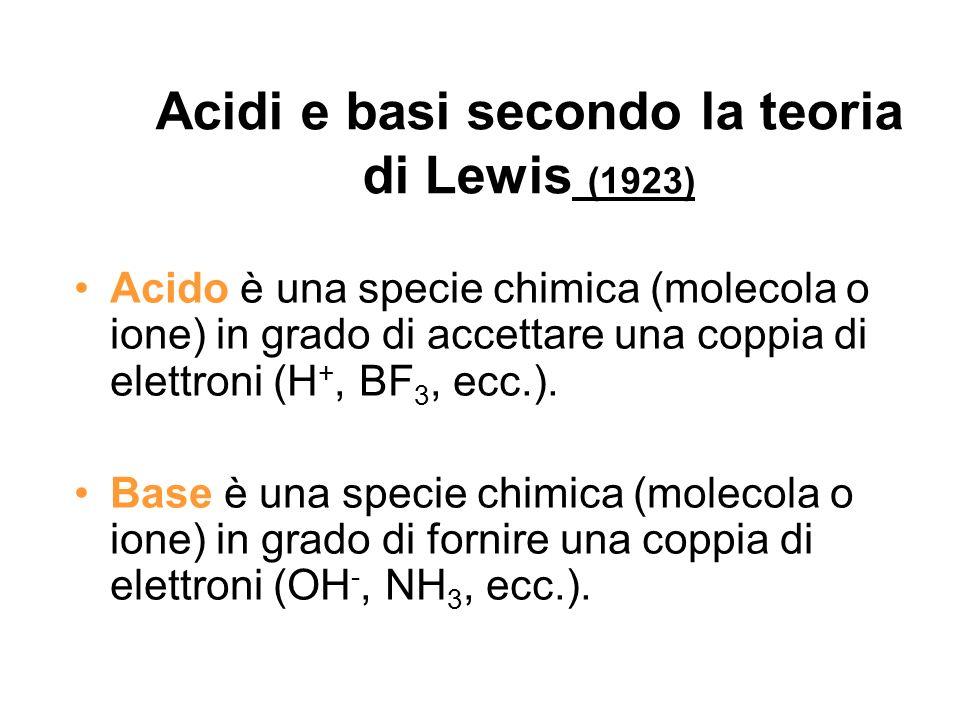 Acidi e basi secondo la teoria di Lewis (1923) Acido è una specie chimica (molecola o ione) in grado di accettare una coppia di elettroni (H +, BF 3,