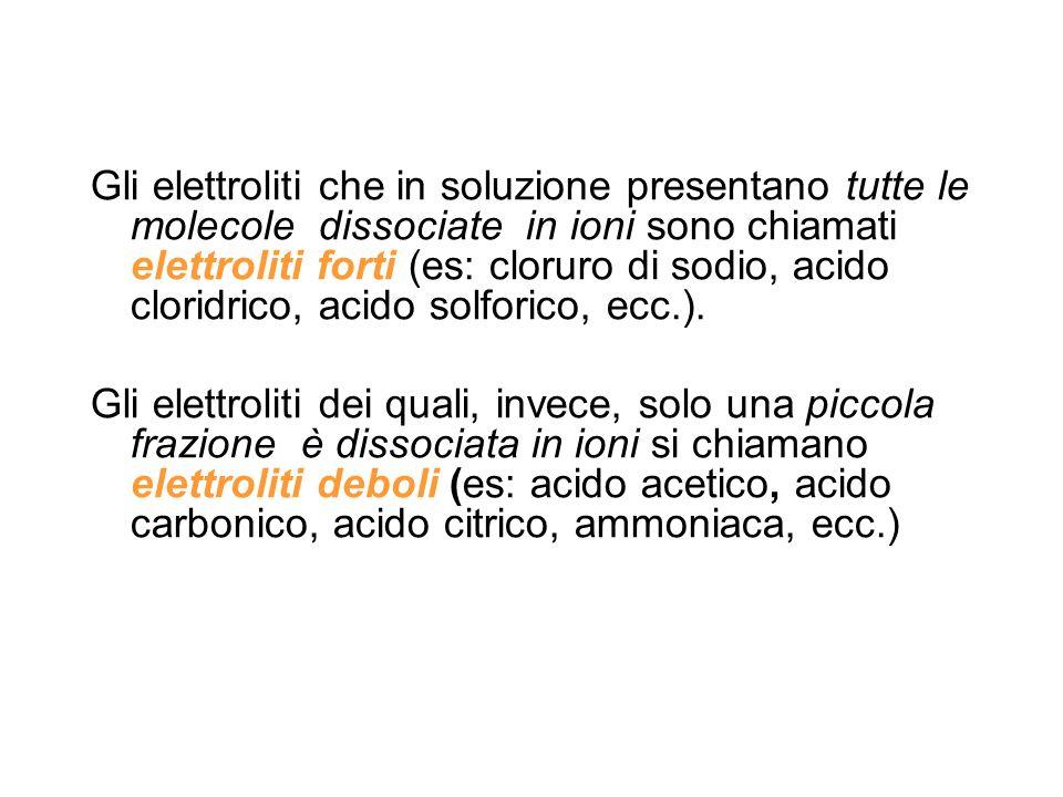 Gli elettroliti che in soluzione presentano tutte le molecole dissociate in ioni sono chiamati elettroliti forti (es: cloruro di sodio, acido cloridri