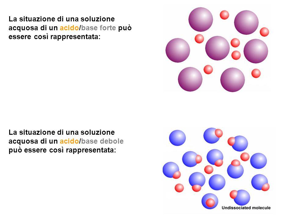La situazione di una soluzione acquosa di un acido/base forte può essere così rappresentata: La situazione di una soluzione acquosa di un acido/base d