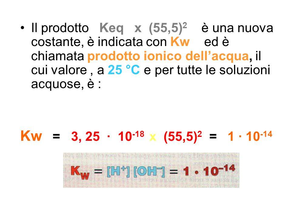 Il prodotto Keq x (55,5) 2 è una nuova costante, è indicata con Kw ed è chiamata prodotto ionico dellacqua, il cui valore, a 25 °C e per tutte le solu