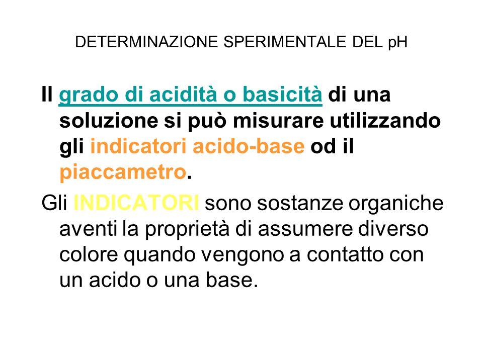 DETERMINAZIONE SPERIMENTALE DEL pH Il grado di acidità o basicità di una soluzione si può misurare utilizzando gli indicatori acido-base od il piaccam