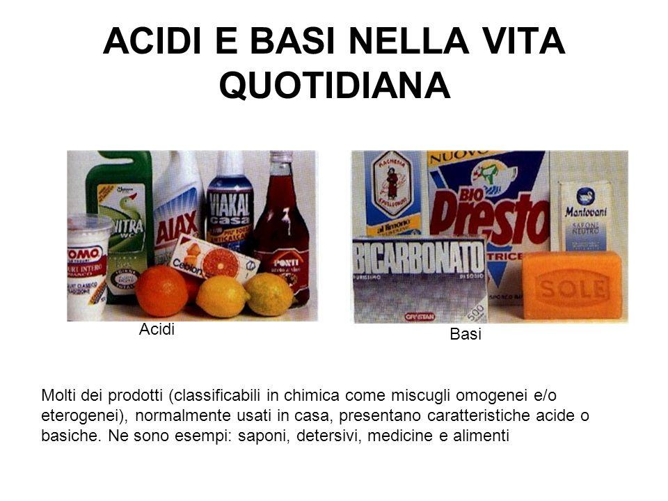 ACIDI E BASI NELLA VITA QUOTIDIANA Molti dei prodotti (classificabili in chimica come miscugli omogenei e/o eterogenei), normalmente usati in casa, pr