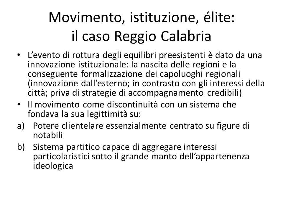 Movimento, istituzione, élite: il caso Reggio Calabria Levento di rottura degli equilibri preesistenti è dato da una innovazione istituzionale: la nas