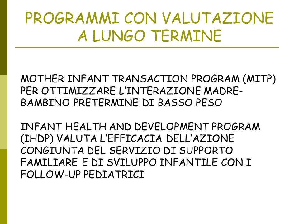 PROGRAMMI CON VALUTAZIONE A LUNGO TERMINE MOTHER INFANT TRANSACTION PROGRAM (MITP) PER OTTIMIZZARE LINTERAZIONE MADRE- BAMBINO PRETERMINE DI BASSO PES