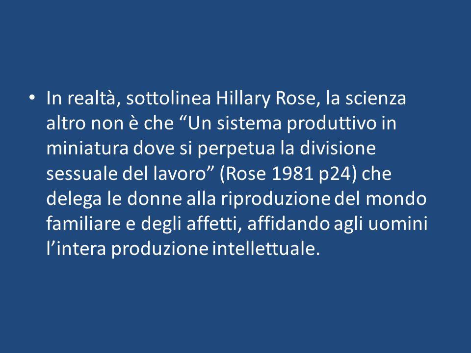 In realtà, sottolinea Hillary Rose, la scienza altro non è che Un sistema produttivo in miniatura dove si perpetua la divisione sessuale del lavoro (Rose 1981 p24) che delega le donne alla riproduzione del mondo familiare e degli affetti, affidando agli uomini lintera produzione intellettuale.