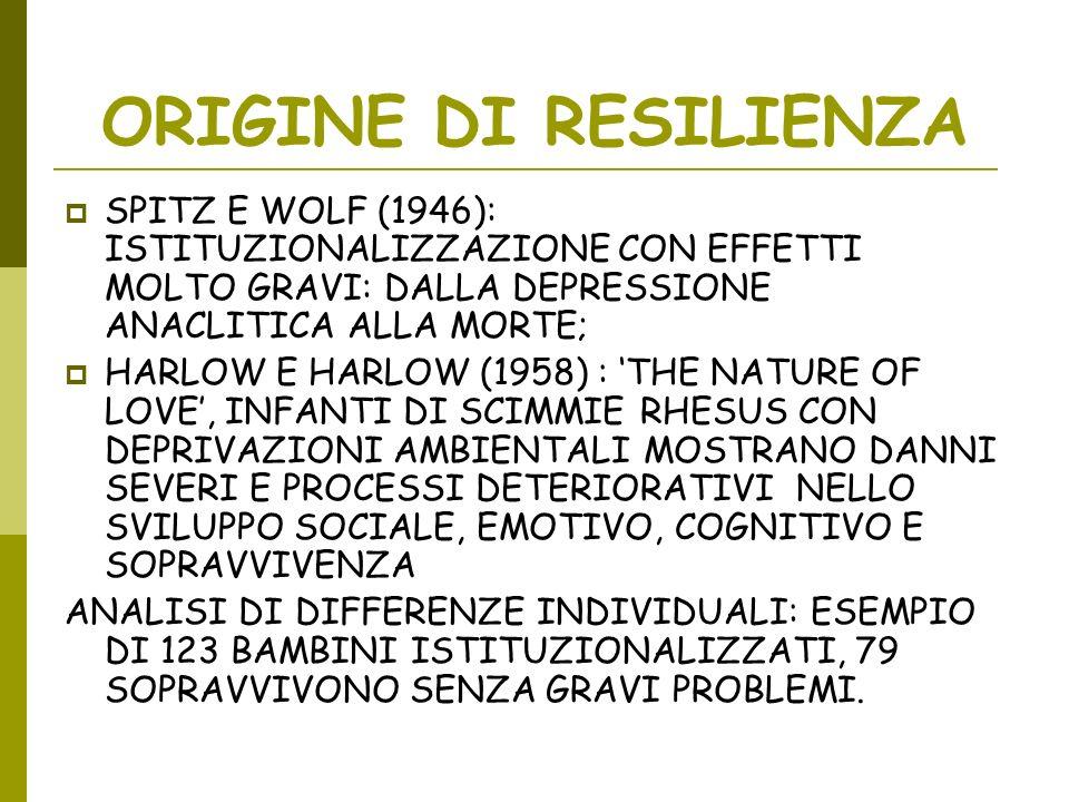 ORIGINE DI RESILIENZA SPITZ E WOLF (1946): ISTITUZIONALIZZAZIONE CON EFFETTI MOLTO GRAVI: DALLA DEPRESSIONE ANACLITICA ALLA MORTE; HARLOW E HARLOW (19