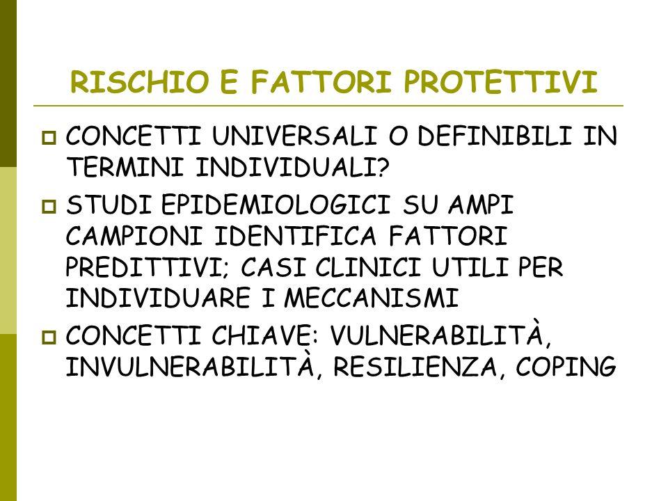 RISCHIO E FATTORI PROTETTIVI CONCETTI UNIVERSALI O DEFINIBILI IN TERMINI INDIVIDUALI? STUDI EPIDEMIOLOGICI SU AMPI CAMPIONI IDENTIFICA FATTORI PREDITT