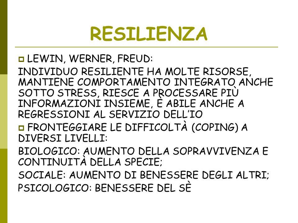 RESILIENZA LEWIN, WERNER, FREUD: INDIVIDUO RESILIENTE HA MOLTE RISORSE, MANTIENE COMPORTAMENTO INTEGRATO ANCHE SOTTO STRESS, RIESCE A PROCESSARE PIÙ I