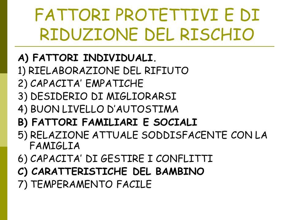 FATTORI PROTETTIVI E DI RIDUZIONE DEL RISCHIO A) FATTORI INDIVIDUALI. 1) RIELABORAZIONE DEL RIFIUTO 2) CAPACITA EMPATICHE 3) DESIDERIO DI MIGLIORARSI