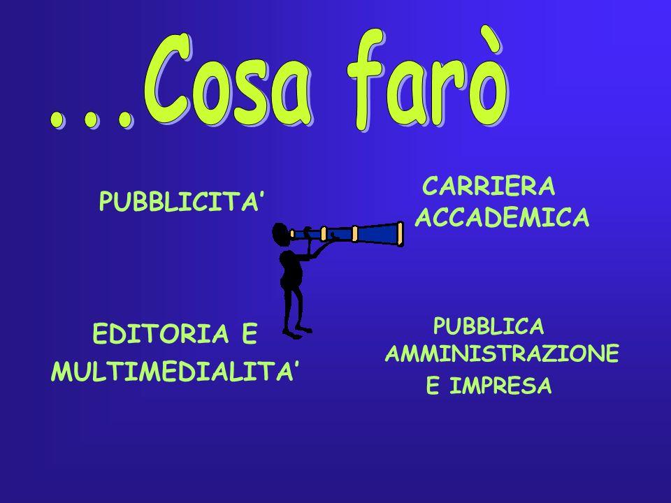 PUBBLICITA CARRIERA ACCADEMICA EDITORIA E MULTIMEDIALITA PUBBLICA AMMINISTRAZIONE E IMPRESA