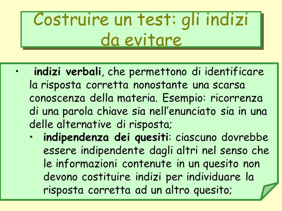 Costruire un test: gli indizi da evitare indizi verbali, che permettono di identificare la risposta corretta nonostante una scarsa conoscenza della ma