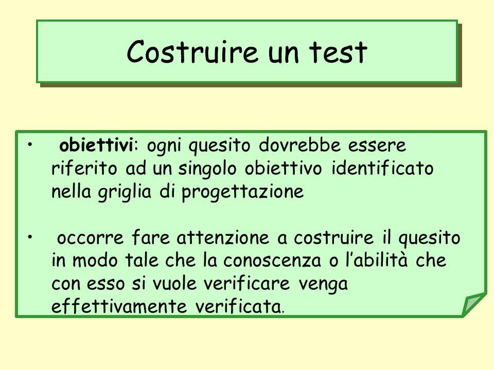 Costruire un test obiettivi: ogni quesito dovrebbe essere riferito ad un singolo obiettivo identificato nella griglia di progettazione occorre fare at
