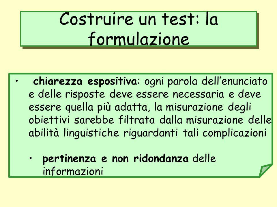 Costruire un test: la formulazione chiarezza espositiva: ogni parola dellenunciato e delle risposte deve essere necessaria e deve essere quella più ad