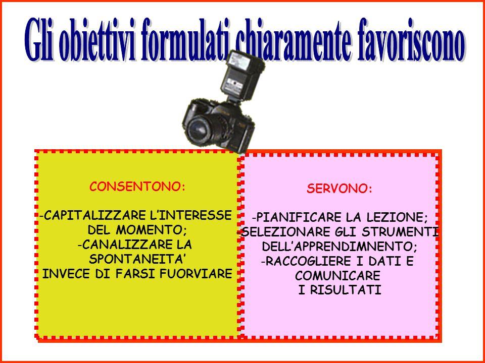 CONSENTONO: -CAPITALIZZARE LINTERESSE DEL MOMENTO; -CANALIZZARE LA SPONTANEITA INVECE DI FARSI FUORVIARE SERVONO: -PIANIFICARE LA LEZIONE; -SELEZIONARE GLI STRUMENTI DELLAPPRENDIMNENTO; -RACCOGLIERE I DATI E COMUNICARE I RISULTATI