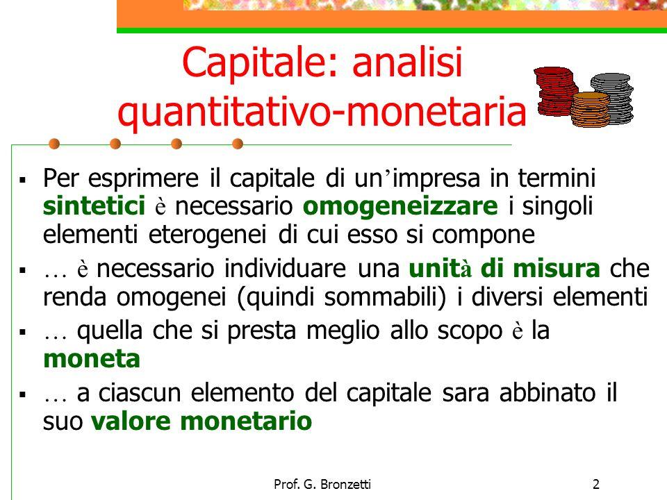Prof. G. Bronzetti2 Capitale: analisi quantitativo-monetaria Per esprimere il capitale di un impresa in termini sintetici è necessario omogeneizzare i