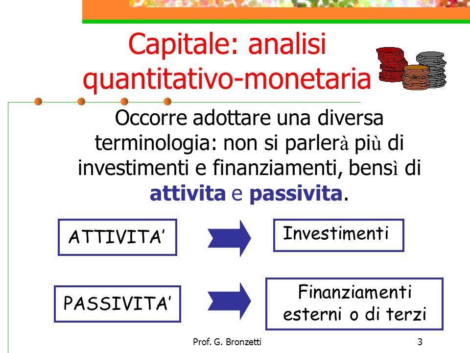 Prof. G. Bronzetti3 Capitale: analisi quantitativo-monetaria Occorre adottare una diversa terminologia: non si parler à pi ù di investimenti e finanzi