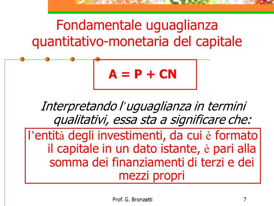 Prof. G. Bronzetti7 Fondamentale uguaglianza quantitativo-monetaria del capitale A = P + CN Interpretando l uguaglianza in termini qualitativi, essa s