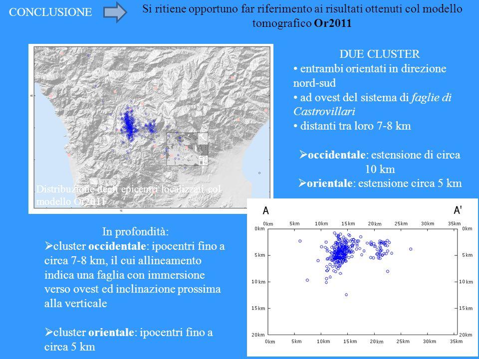 CONCLUSIONE Si ritiene opportuno far riferimento ai risultati ottenuti col modello tomografico Or2011 Distribuzione degli epicentri localizzati col mo