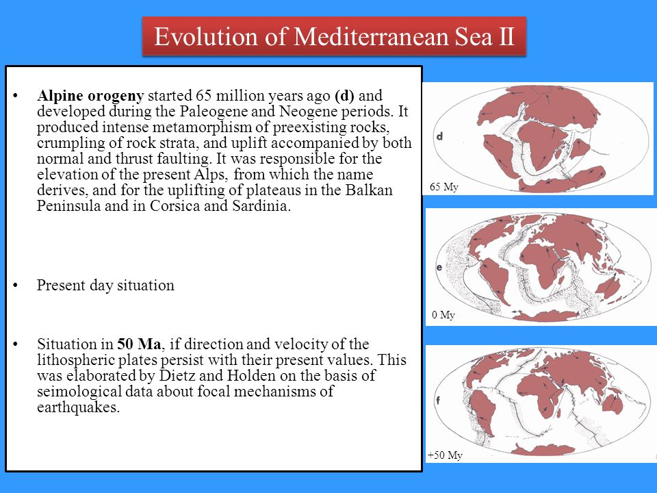 Evolution of Mediterranean Sea II Alpine orogeny started 65 million years ago (d) and developed during the Paleogene and Neogene periods.