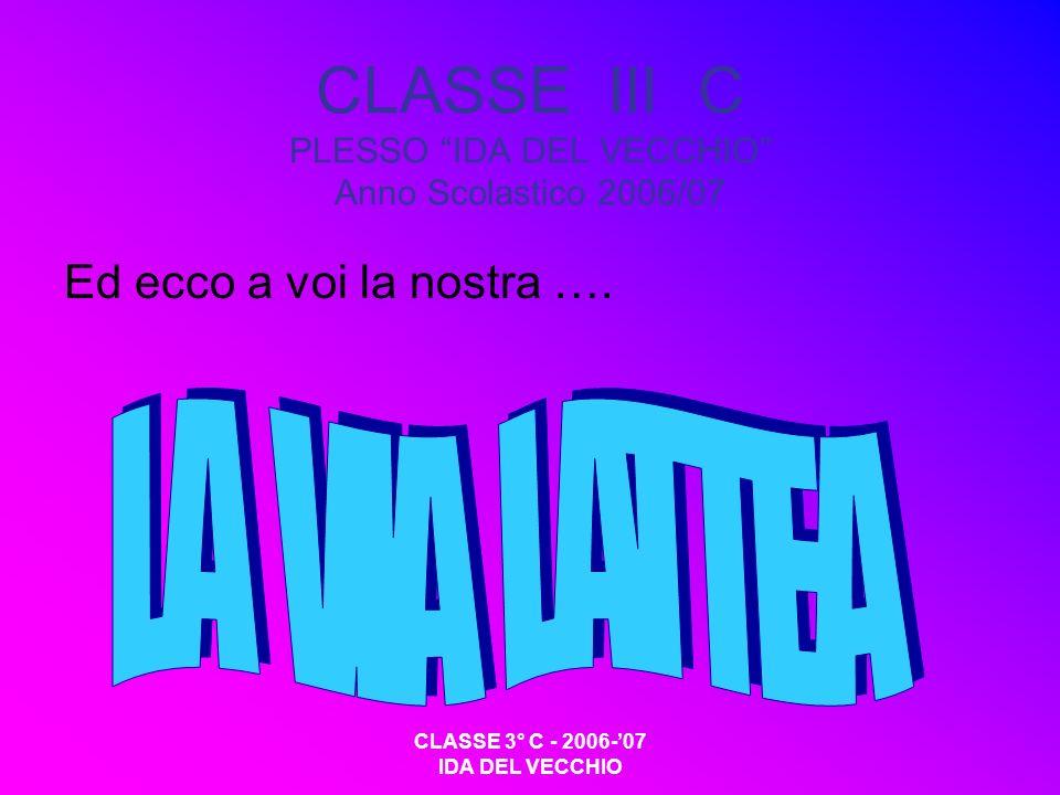 CLASSE 3° C - 2006-07 IDA DEL VECCHIO CLASSE III C PLESSO IDA DEL VECCHIO Anno Scolastico 2006/07 Ed ecco a voi la nostra ….