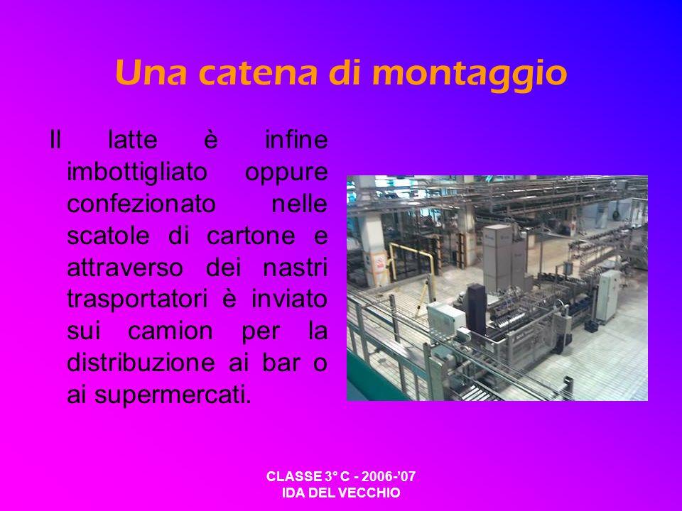 CLASSE 3° C - 2006-07 IDA DEL VECCHIO Una catena di montaggio Il latte è infine imbottigliato oppure confezionato nelle scatole di cartone e attravers
