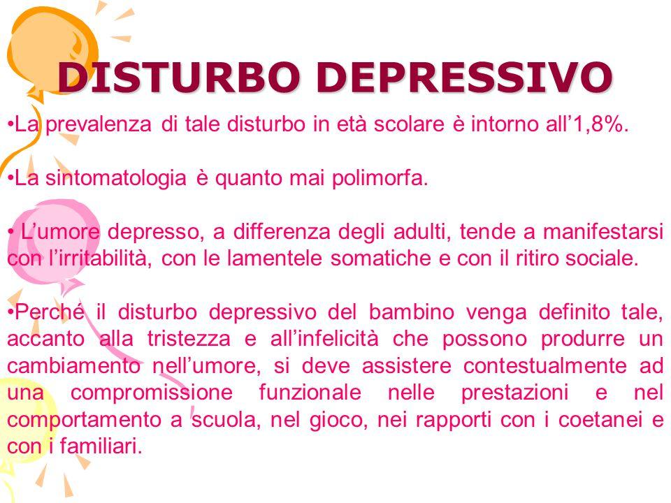 DISTURBO DEPRESSIVO La prevalenza di tale disturbo in età scolare è intorno all1,8%.