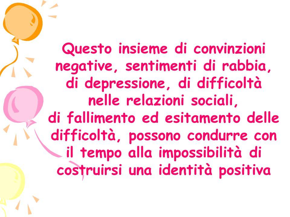 Questo insieme di convinzioni negative, sentimenti di rabbia, di depressione, di difficoltà nelle relazioni sociali, di fallimento ed esitamento delle difficoltà, possono condurre con il tempo alla impossibilità di costruirsi una identità positiva