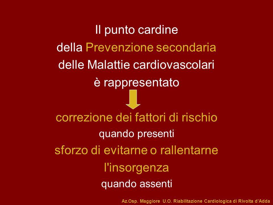 Il punto cardine della Prevenzione secondaria delle Malattie cardiovascolari è rappresentato correzione dei fattori di rischio quando presenti sforzo